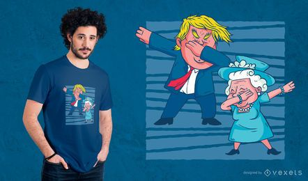 Trump & Queen Dabbing Design de t-shirt