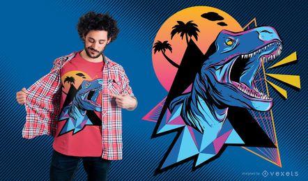 Design de t-shirt de dinossauro de néon