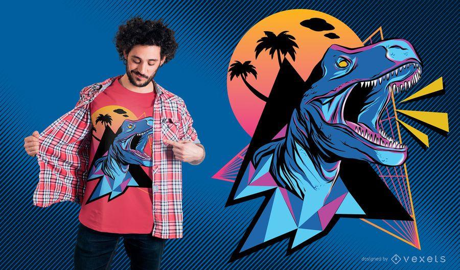 Diseño de camiseta de dinosaurio neón.