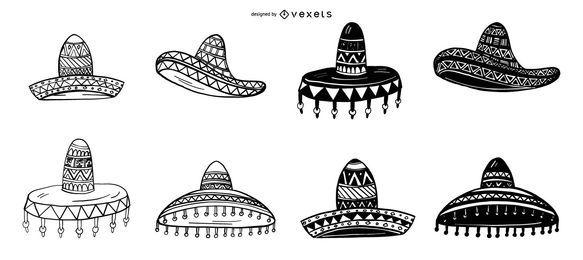 Conjunto de ilustración de sombrero mexicano