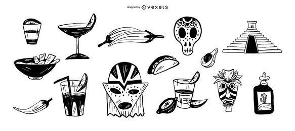Conjunto de ícones de cinco de maio