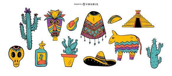 Conjunto de ilustración del Cinco de Mayo
