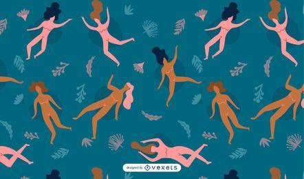 Design de padrão sem emenda de mulheres