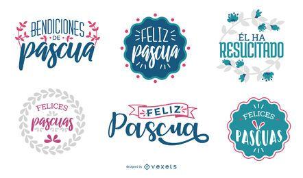 Conjunto de diseño de letras Feliz Pascua
