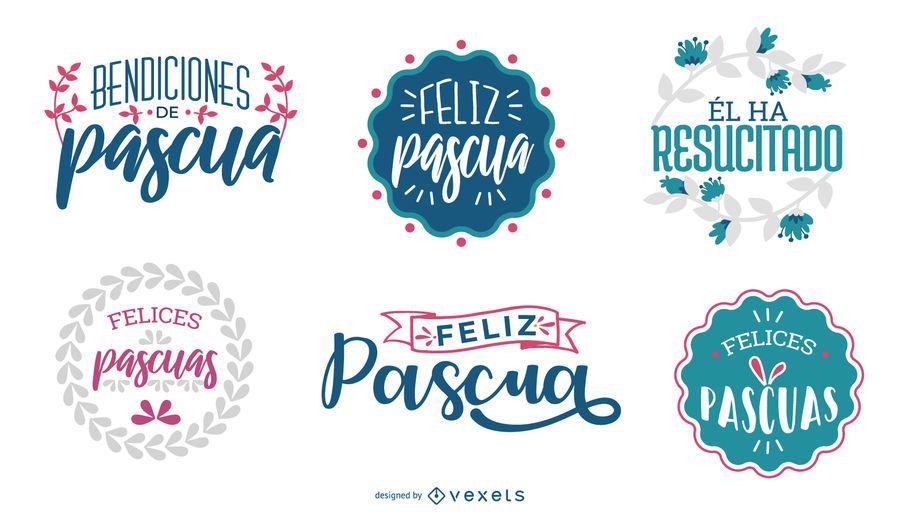 Feliz Pascua Lettering Design Set