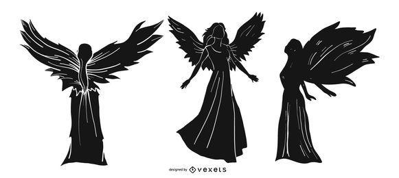 Conjunto de silhueta de anjo