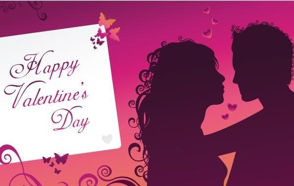 Lila glückliche Valentinstaggrußkarte