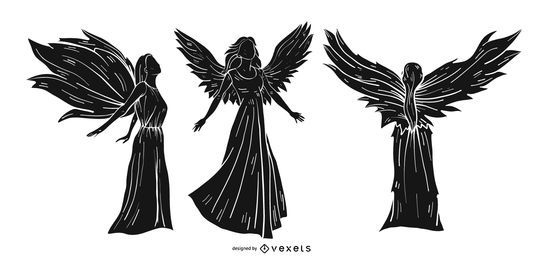 Conjunto de silhueta detalhada de anjo