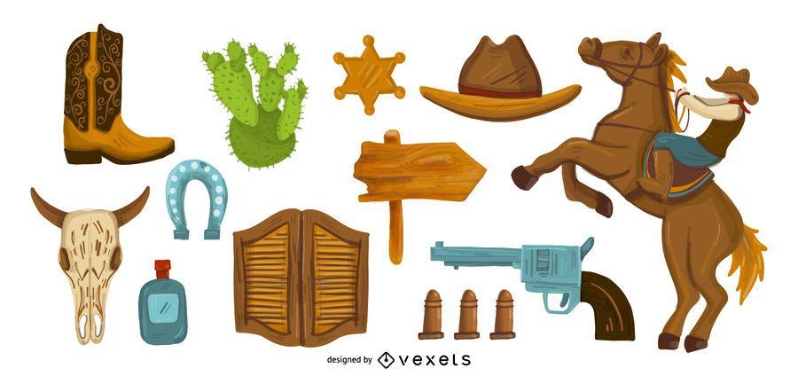 Conjunto de vetores de elementos de vaqueiro