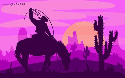 Cowboy Desert Illustration