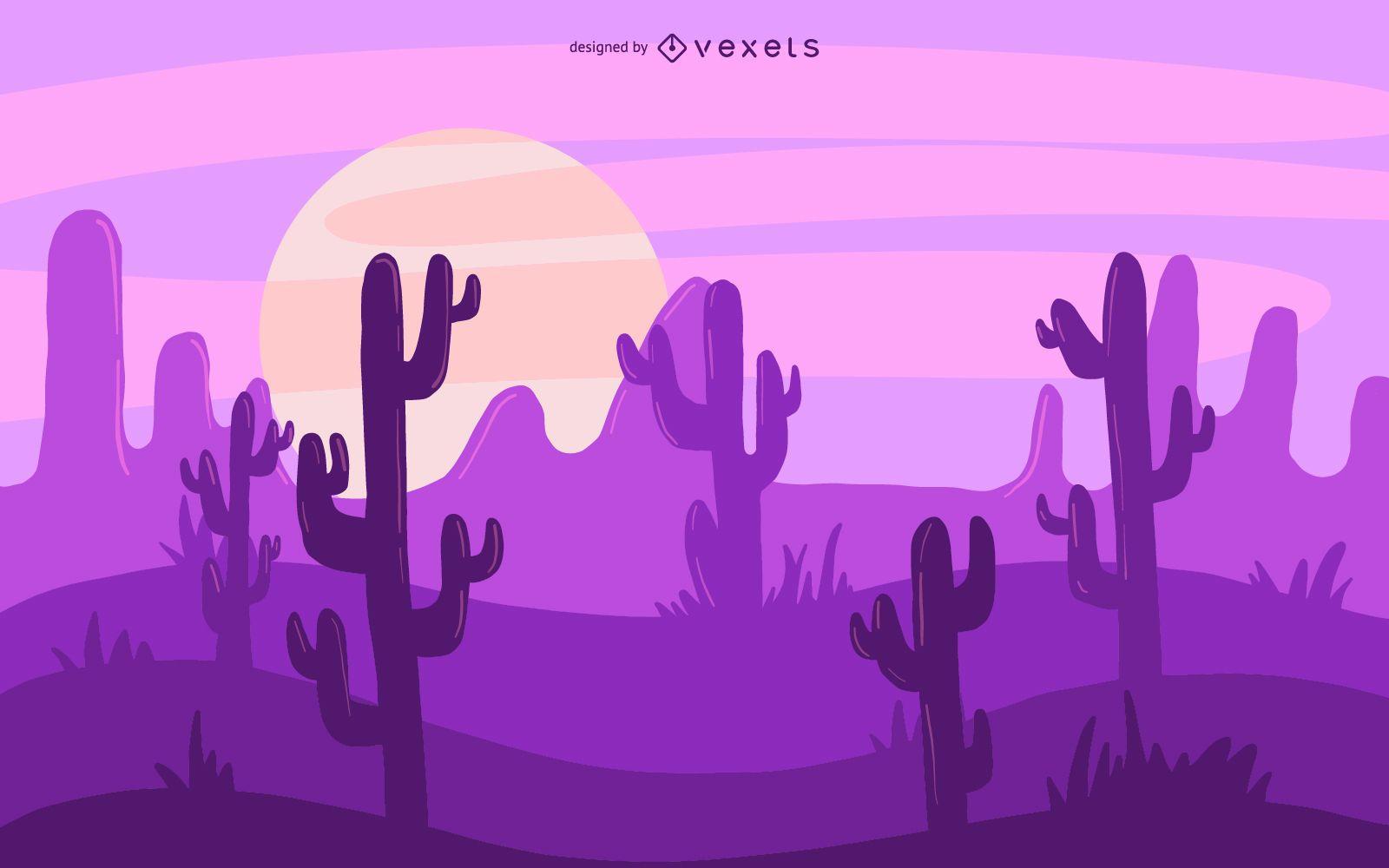 Ilustraci?n de cactus del desierto