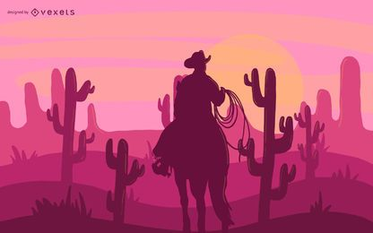 Desert Cowboy Illustration