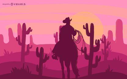 Ilustração de cowboy de deserto