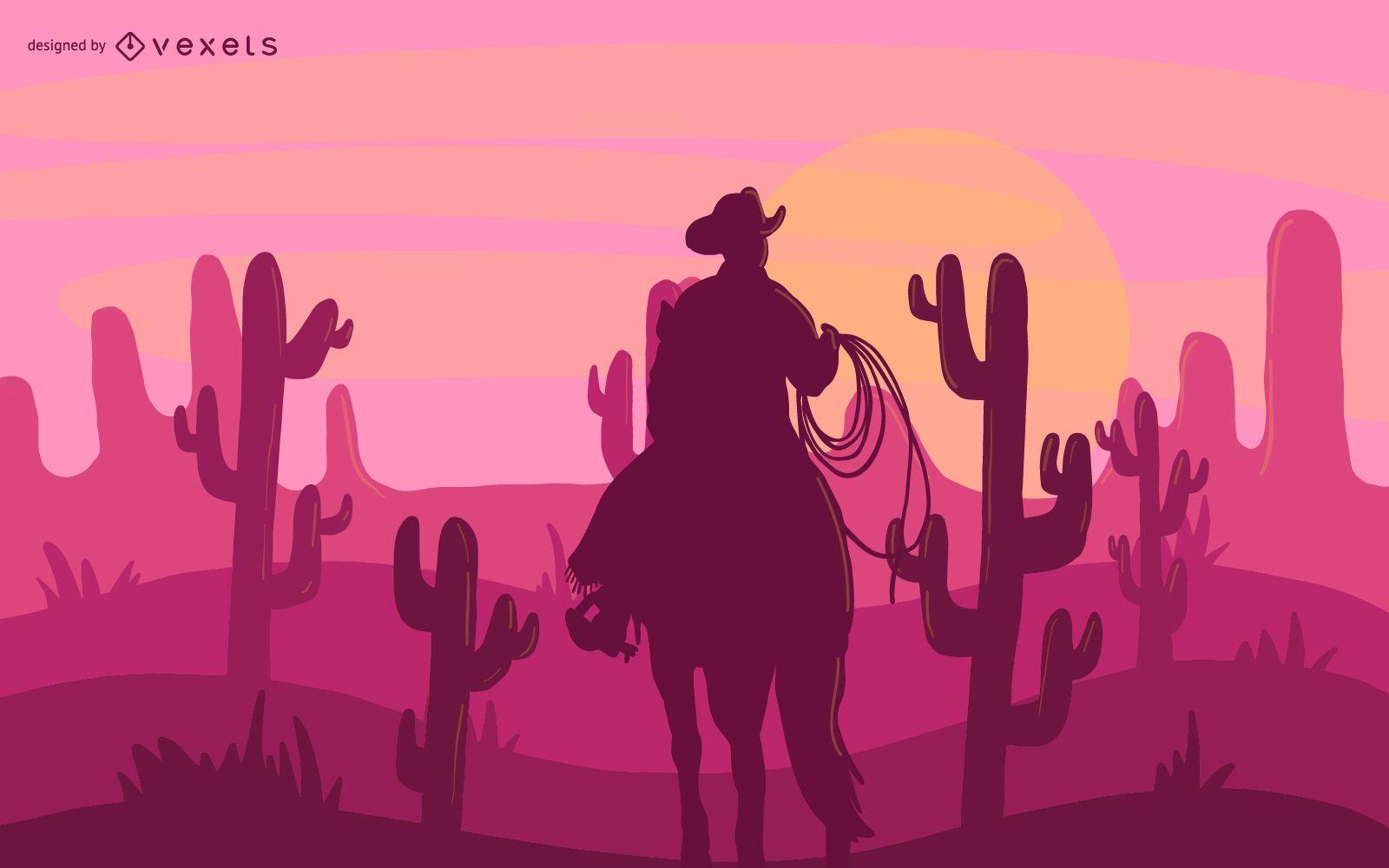 Ilustraci?n de vaquero del desierto