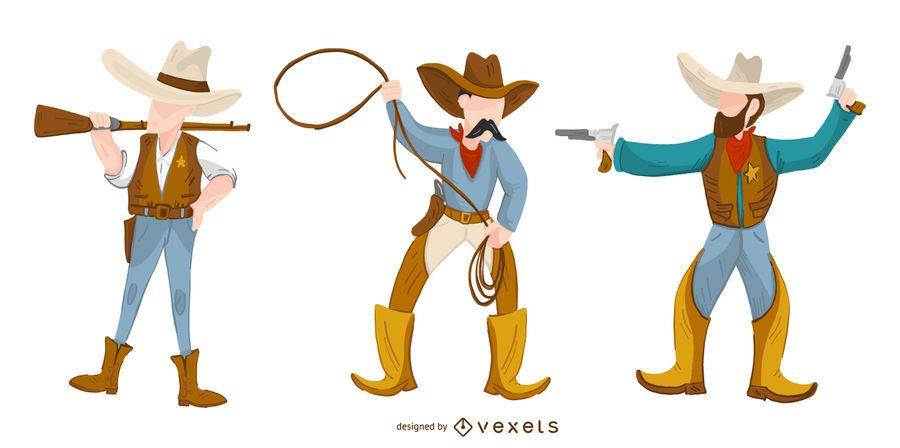 Conjunto de desenhos animados de vaqueiro