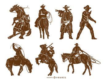 Conjunto de silhueta detalhada de vaqueiro