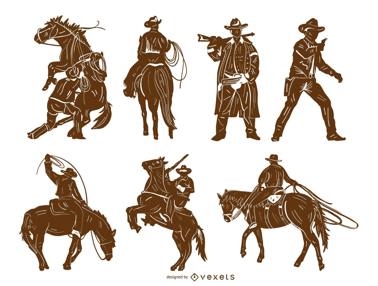 Cowboy Detailed Silhouette Set