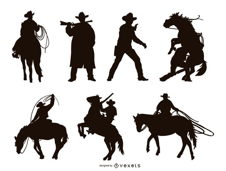 Conjunto de silueta de vaquero