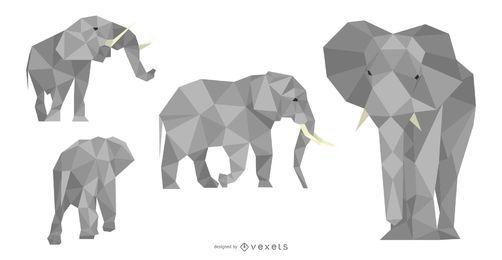Conjunto de diseño poligonal elefante