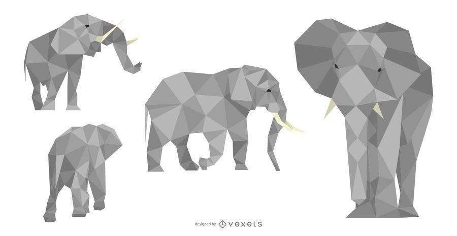 Conjunto de diseño poligonal de elefante
