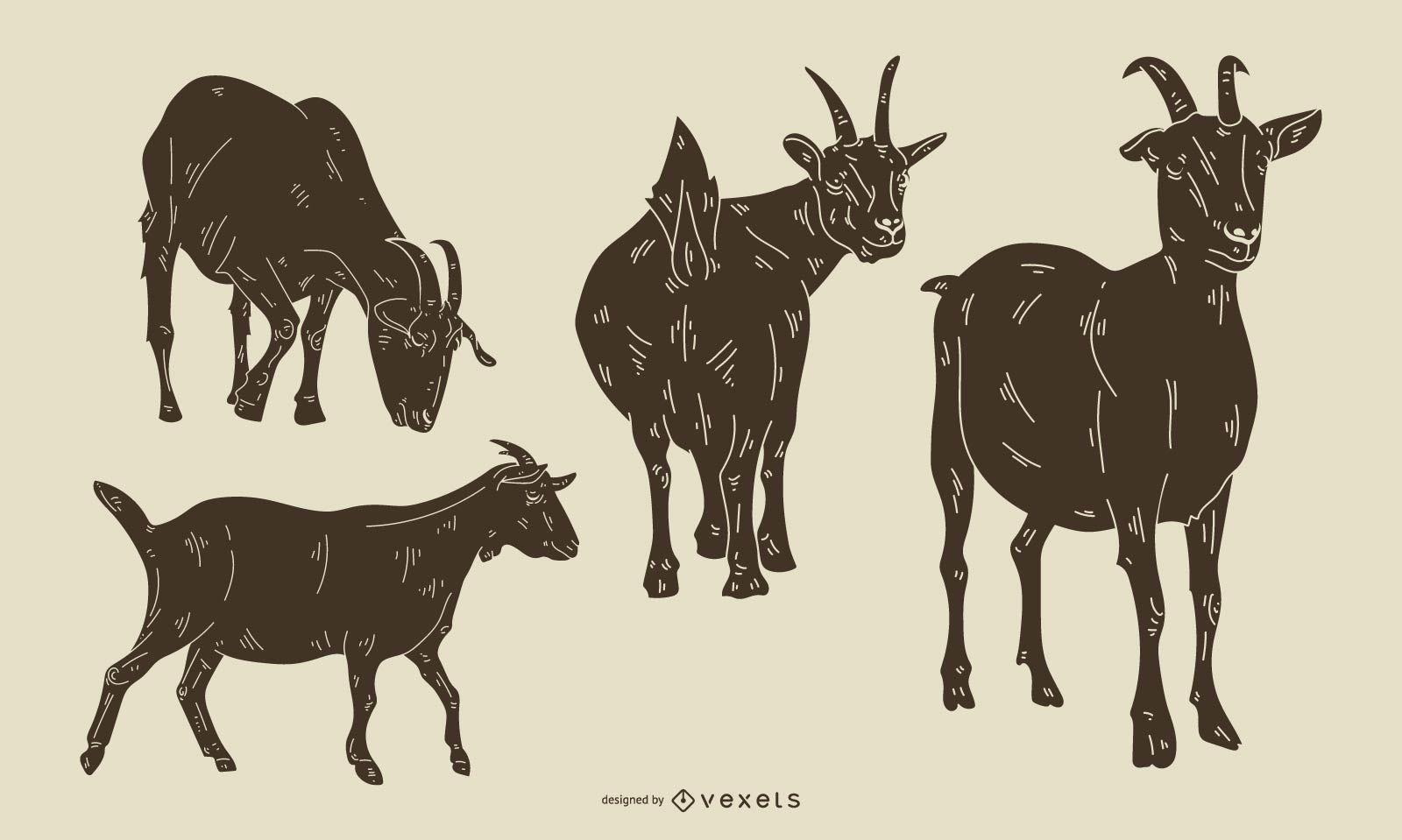 Conjunto de silueta detallada de cabra