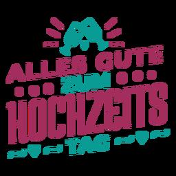 Etiqueta engomada alemana del vidrio del corazón del texto de Alles gute zum hochzeits