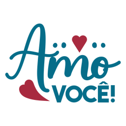 Amor voce portugues texto adesivo coração