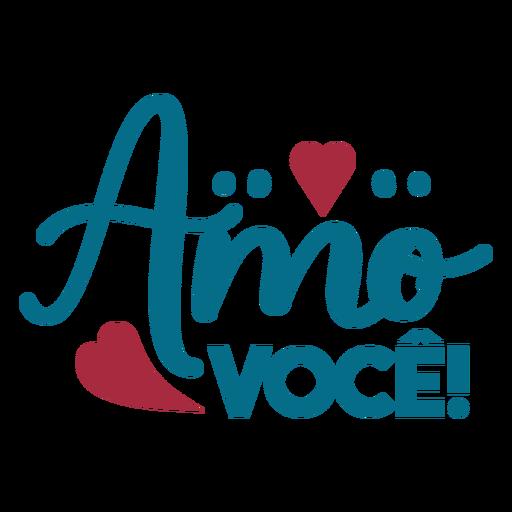 Pegatina corazón amor texto en portugués Transparent PNG