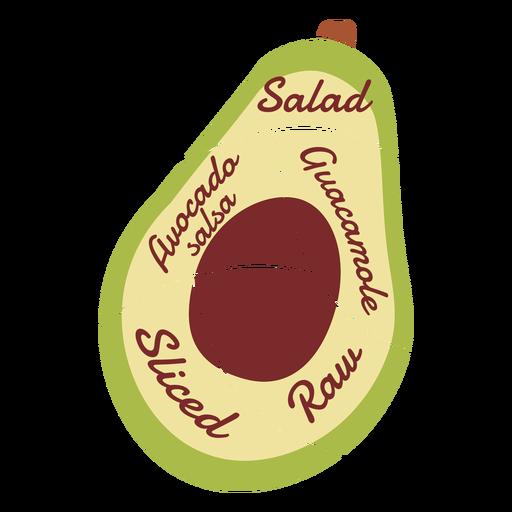 Avocado stone salad guacamole raw sliced salsa flat