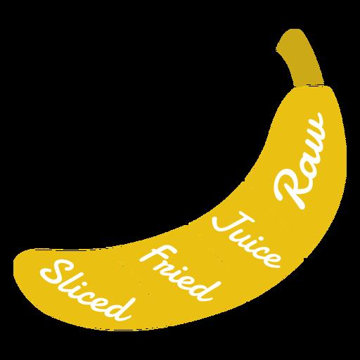 Plátano crudo jugo frito skiced plana Transparent PNG