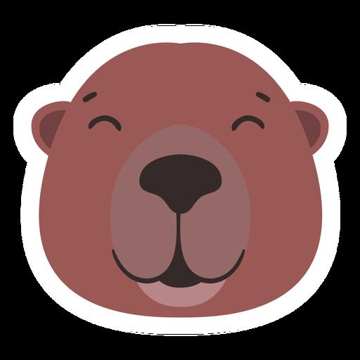 Beaver head happy flat sticker Transparent PNG