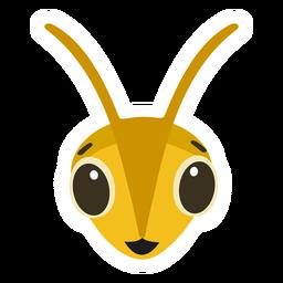 Pegatina plana abeja avispa cabeza feliz