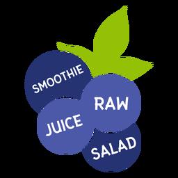Blueberry leaf smoothie raw juice salad flat