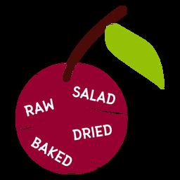 Salada de folhas de cereja cru seco cozido assado