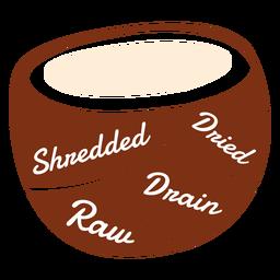 Coco rallado secado crudo desagüe plano