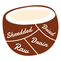 Kokosnuss zerrissener getrockneter roher Abfluss flach