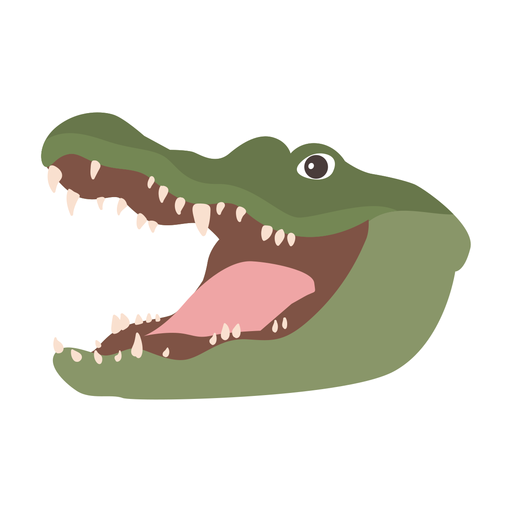 Crocodilo jacaré fang flat sticker Transparent PNG