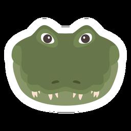 Pegatina plana cocodrilo cabeza cocodrilo colmillo