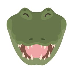 Flacher Aufkleber des Krokodillachs-Alligatorfangs