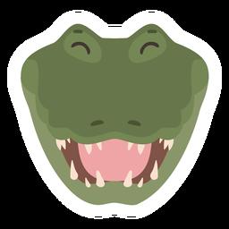 Pegatina plana cocodrilo risa colmillo de cocodrilo