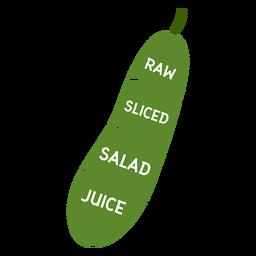 Roher geschnittener Salatsaft der Gurke flach