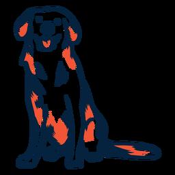 Perro cachorro sentado golpe duotono