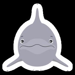 Etiqueta engomada plana de la cabeza de aleta del delfín