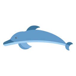 Delfín aleta cola natación plana redondeada geométrica.