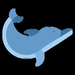 Delfín nadando aleta cola plana redondeada geométrica.