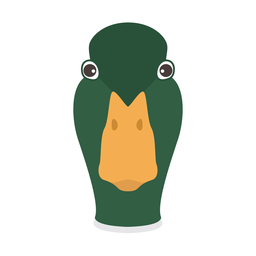 Etiqueta engomada plana de la cabeza del pato salvaje drake pico de pato
