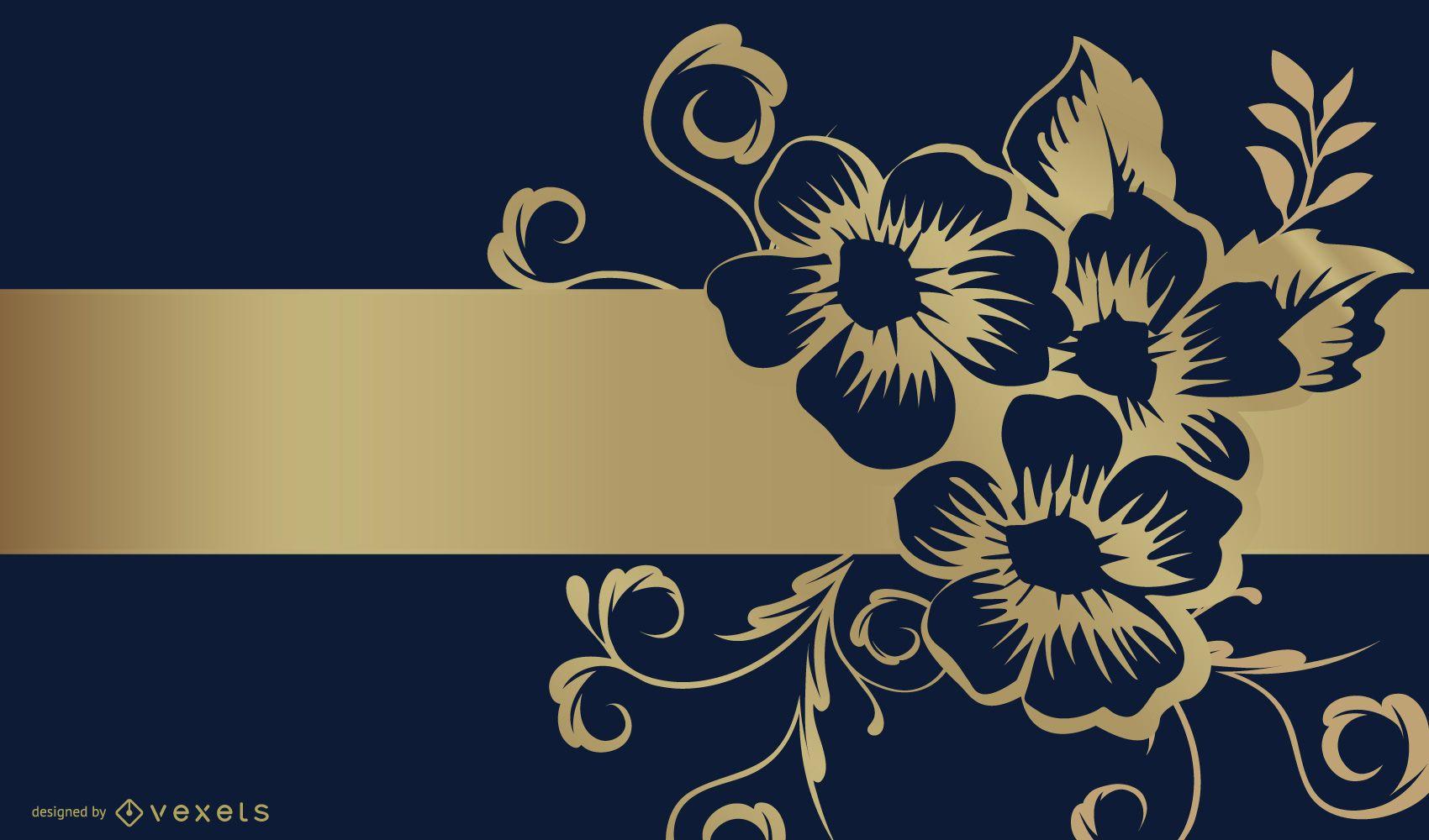 Diseño de fondo de cinta dorada y flor