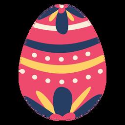 Huevo pascua pintado huevo de pascua huevo de pascua patrón de flores punto raya plana