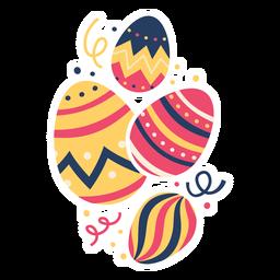 Huevo pascua pintado huevo de pascua huevo de pascua cuatro patrón plano