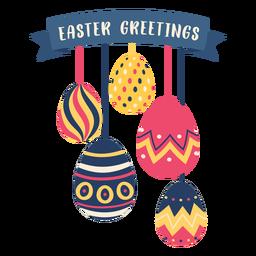 Ei Ostern gemaltes Osterei Osterei-Muster fünf Ostern-Grüße flach